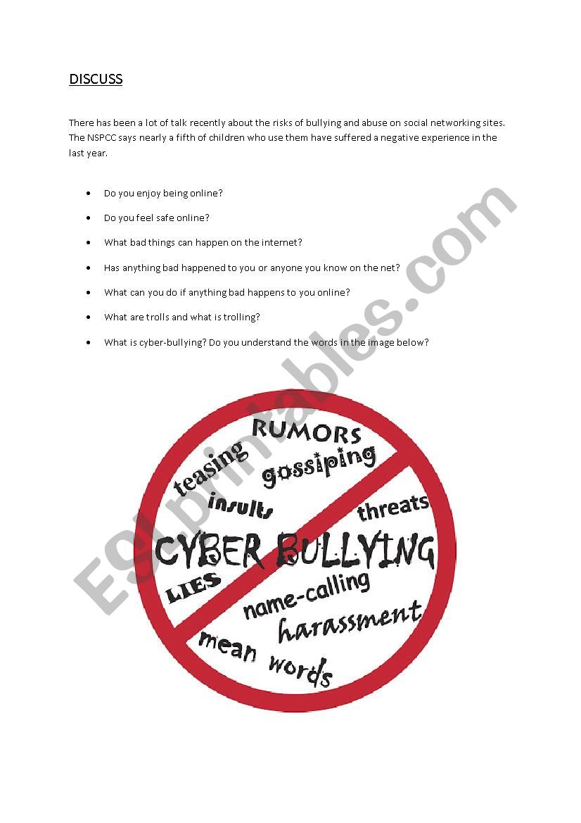 Cyberbullying worksheet