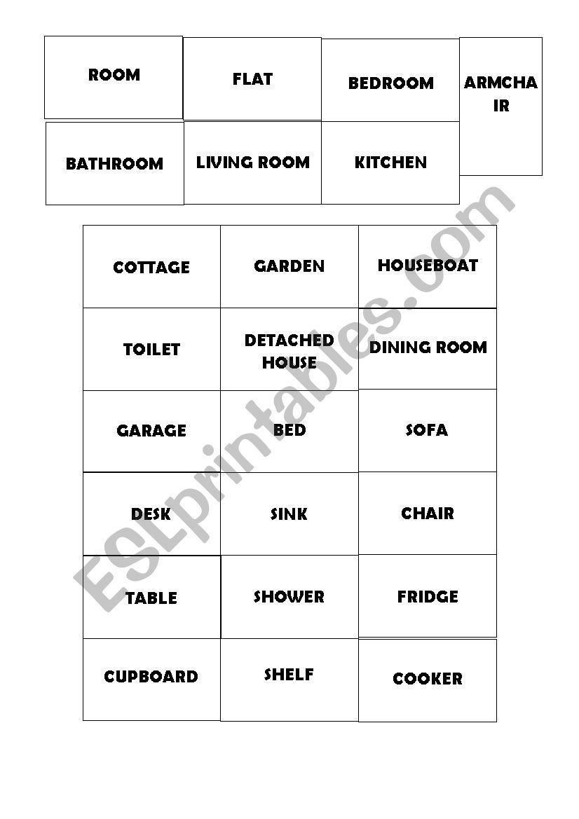 HOUSES VOCABULARY FLASHCARDS worksheet