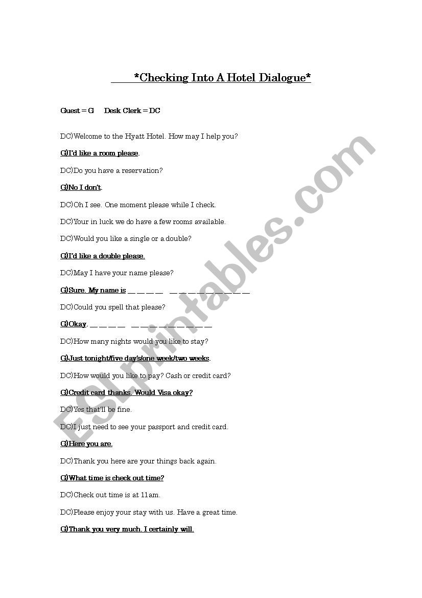 Checking Into A Hotel Guest And Front Desk Role Play Esl Worksheet By Mark2516