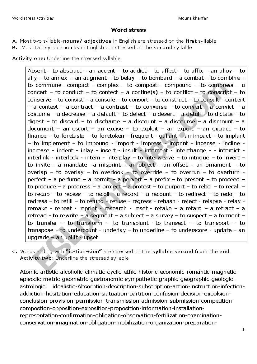 word stress worksheet