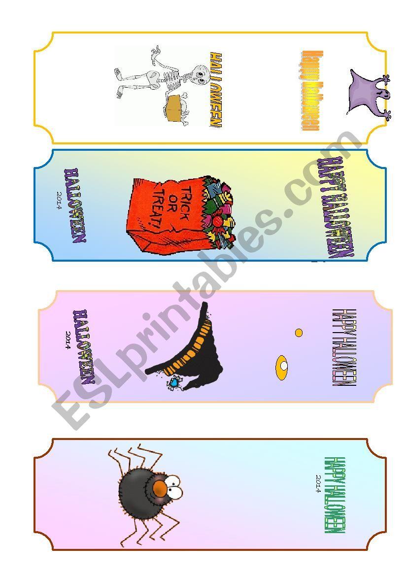 Halloween bookmarks worksheet