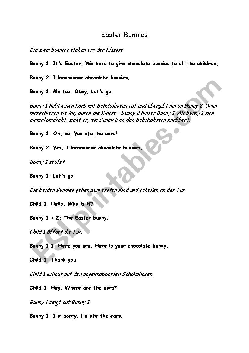 Easter bunny roleplay worksheet