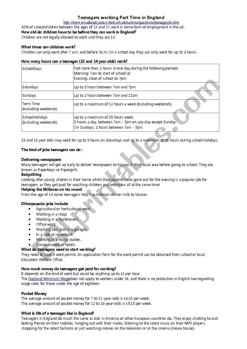 Teenagers Working Part Time In England Esl Worksheet By Hetzequoi