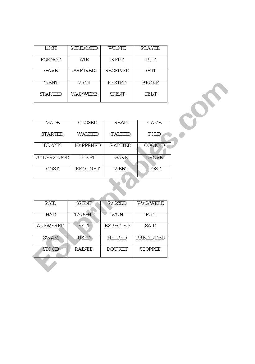 Regular/irregular verbs bingo worksheet