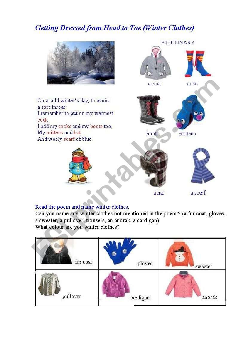 Winter clothes (an illustrated poem + questions)