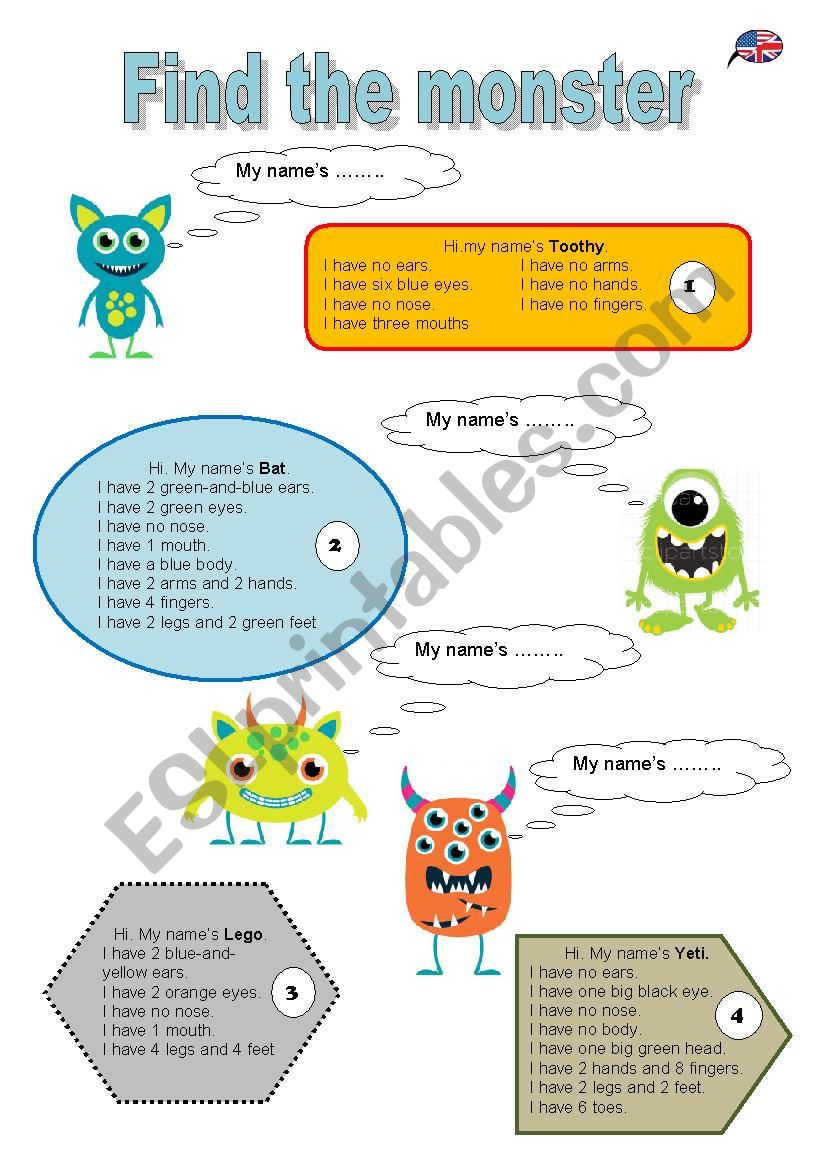 Find the monster worksheet