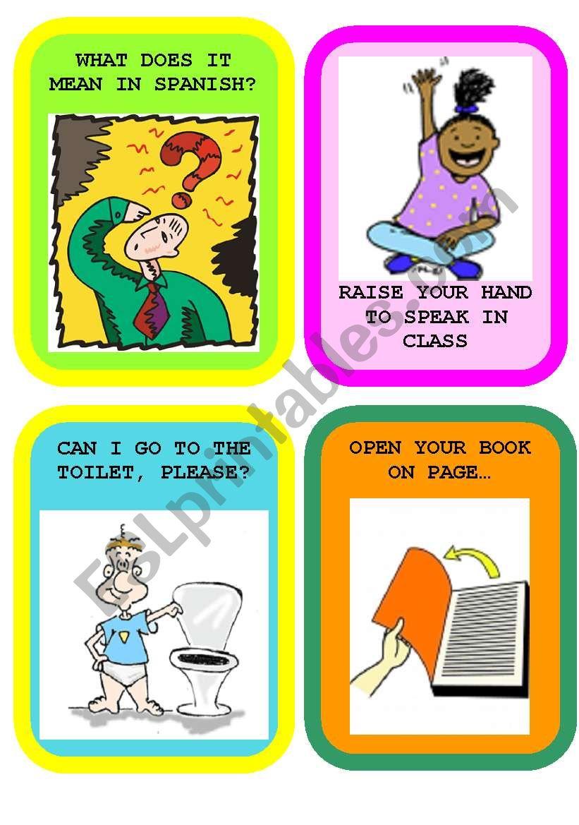 CLASSROOM LANGUAGE FLASHCARDS SET 1