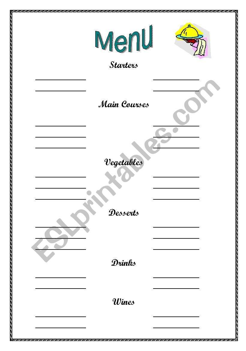 writing a menu  see page 2