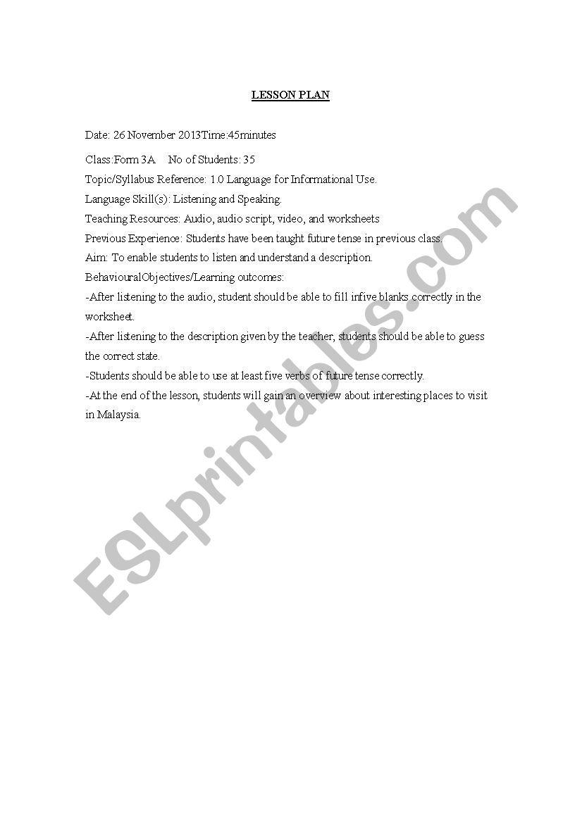 lesson plan (adjective) worksheet