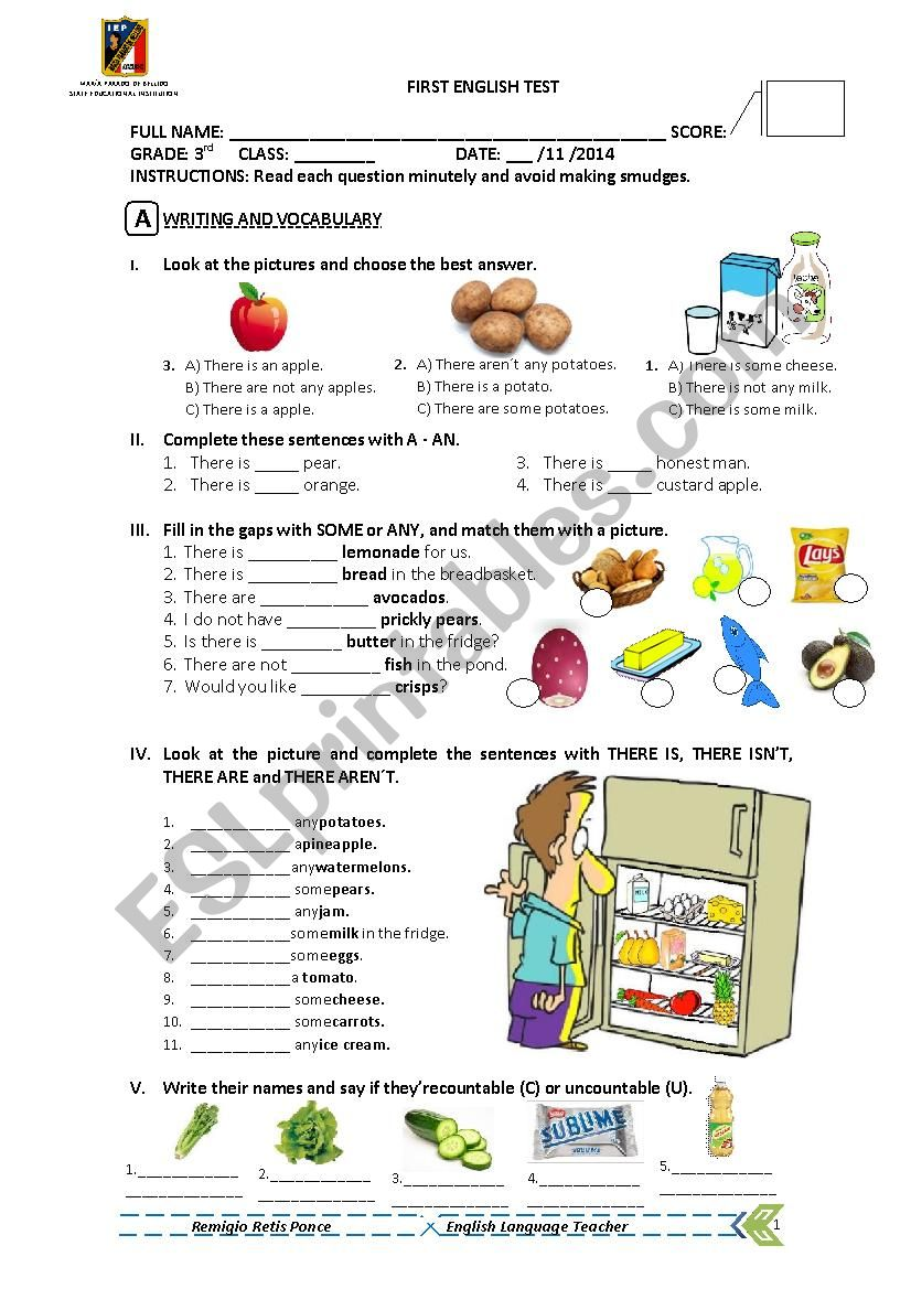 There is - There are test worksheet