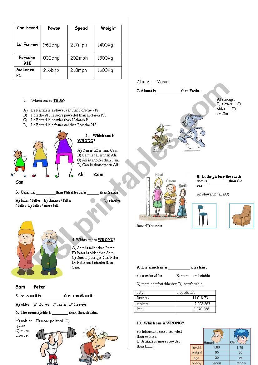 Simple Comparatives Test worksheet
