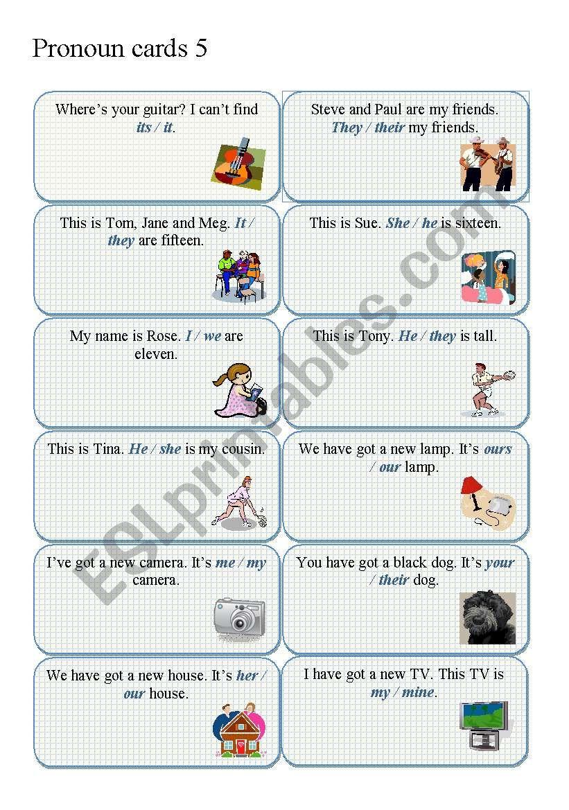 PRONOUN CARDS part 5 worksheet