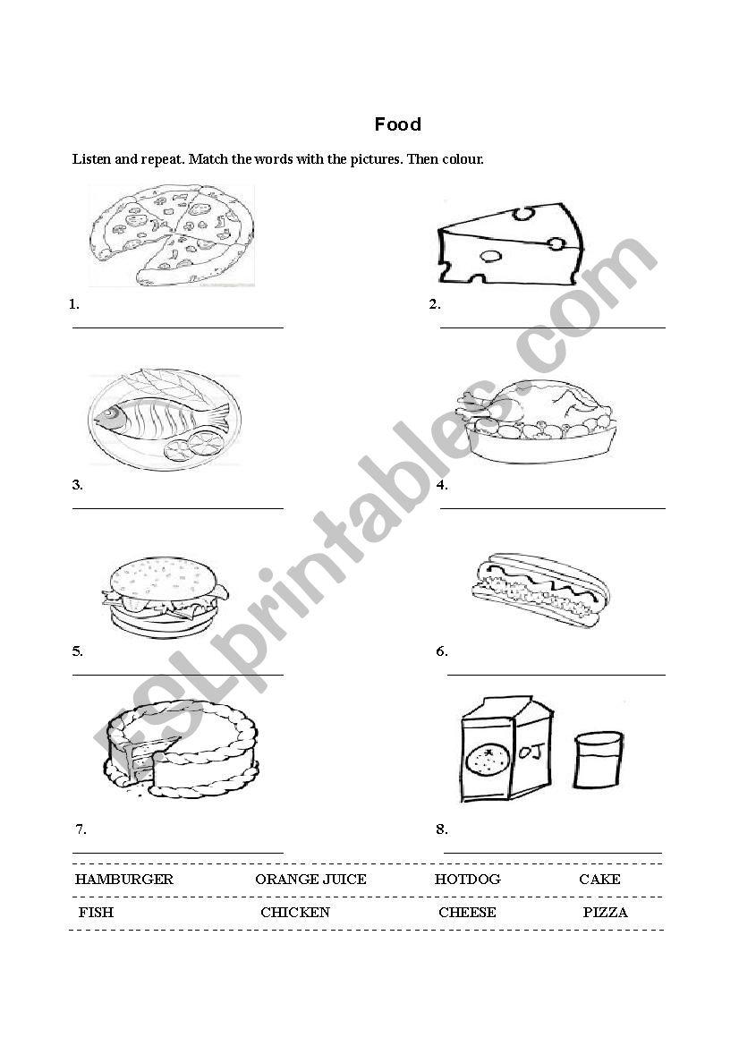 Food Worksheet for kids - ESL worksheet by diana florina