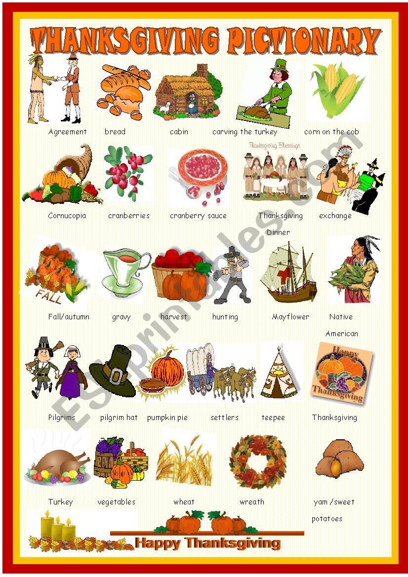 Thanksgiving : pictionary worksheet