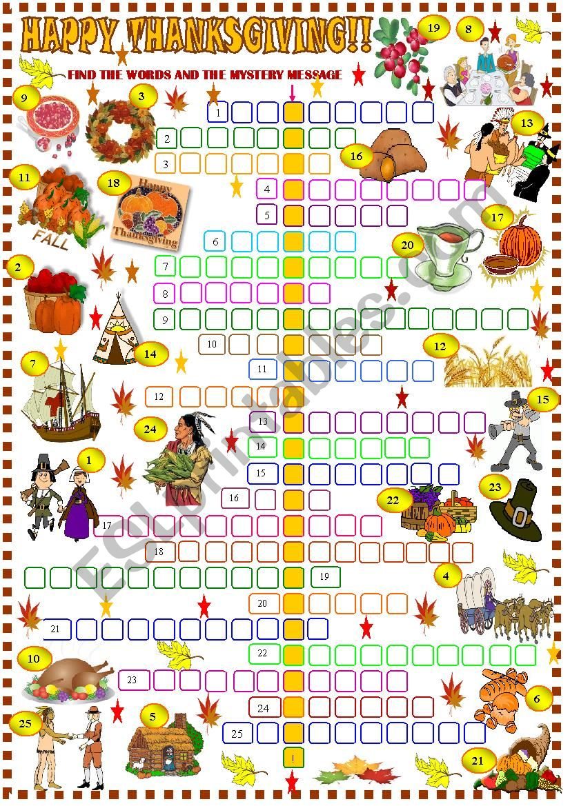 It is a graphic of Thanksgiving Crossword Puzzle Printable for template
