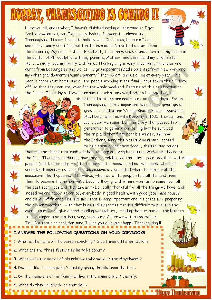 Thanksgiving : reading  comprehension