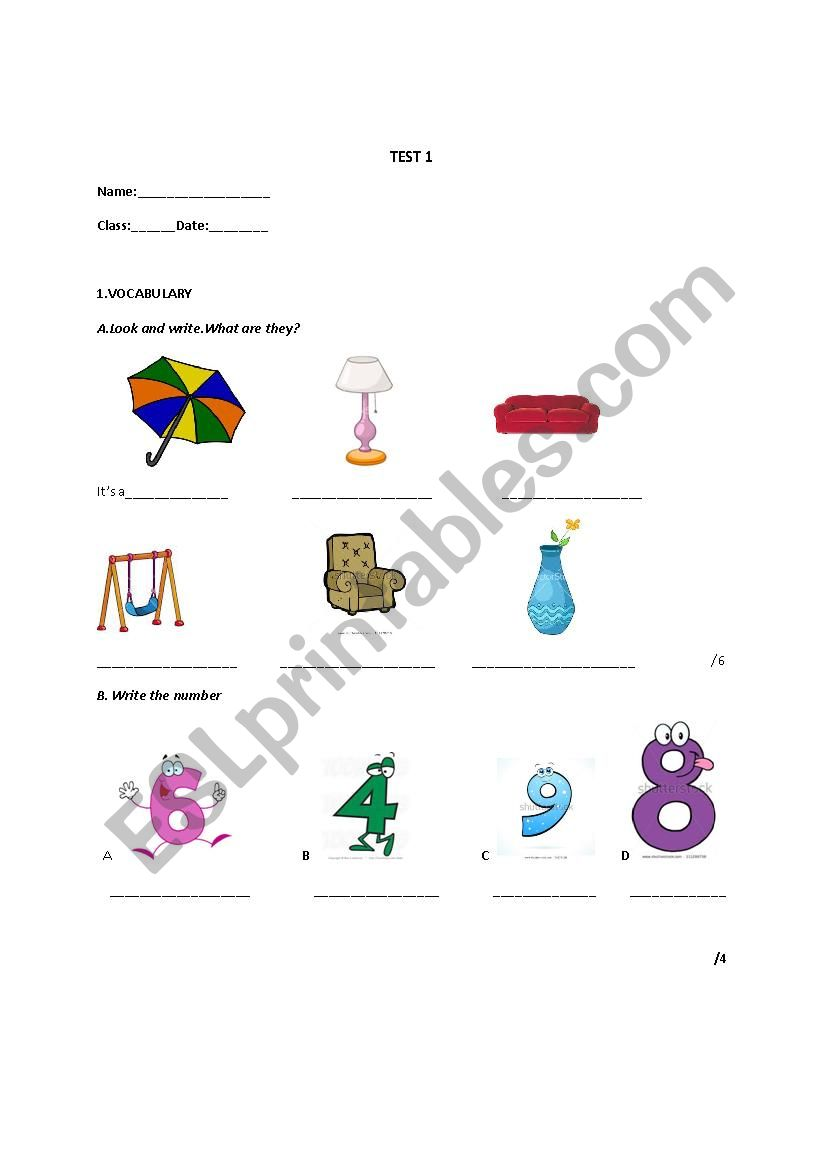Test 1-Welcome 1 worksheet