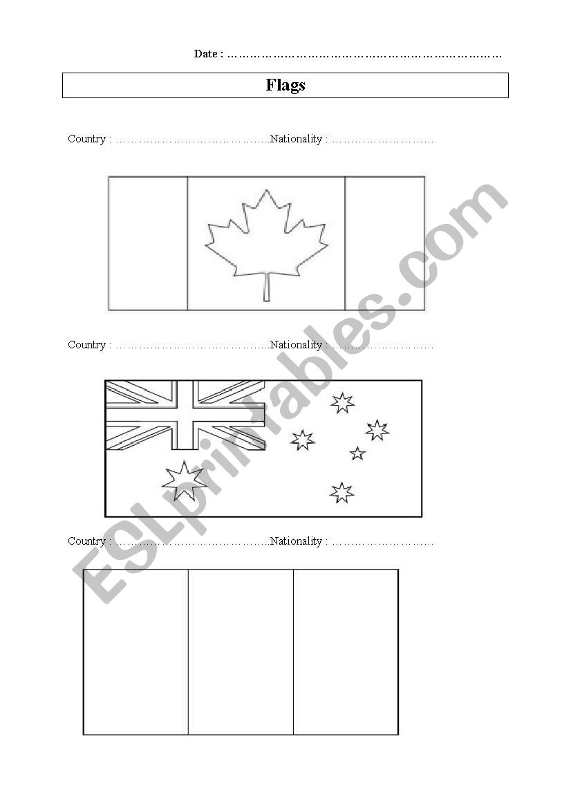 - Countries And Nationalities: Flags To Colour - ESL Worksheet By Laugho