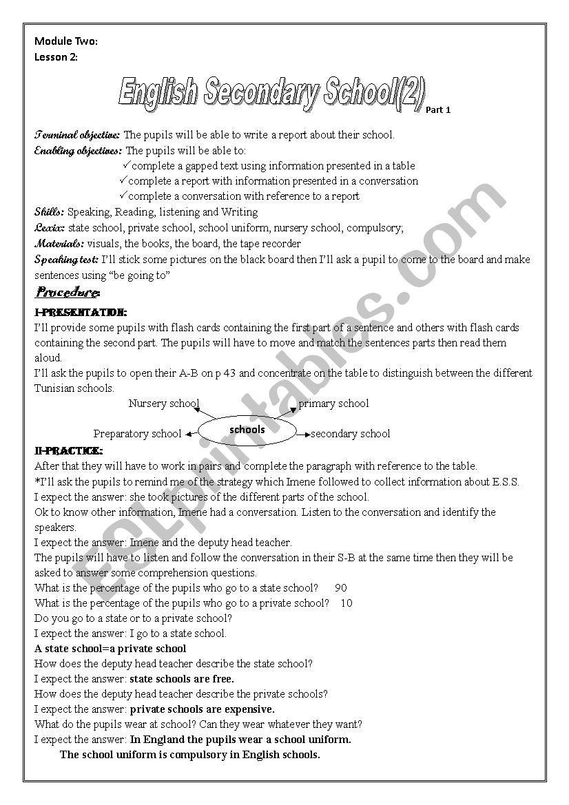 Lesson 2 Module 2 English Secondary Schools (part 1+ part 2) 8 th form