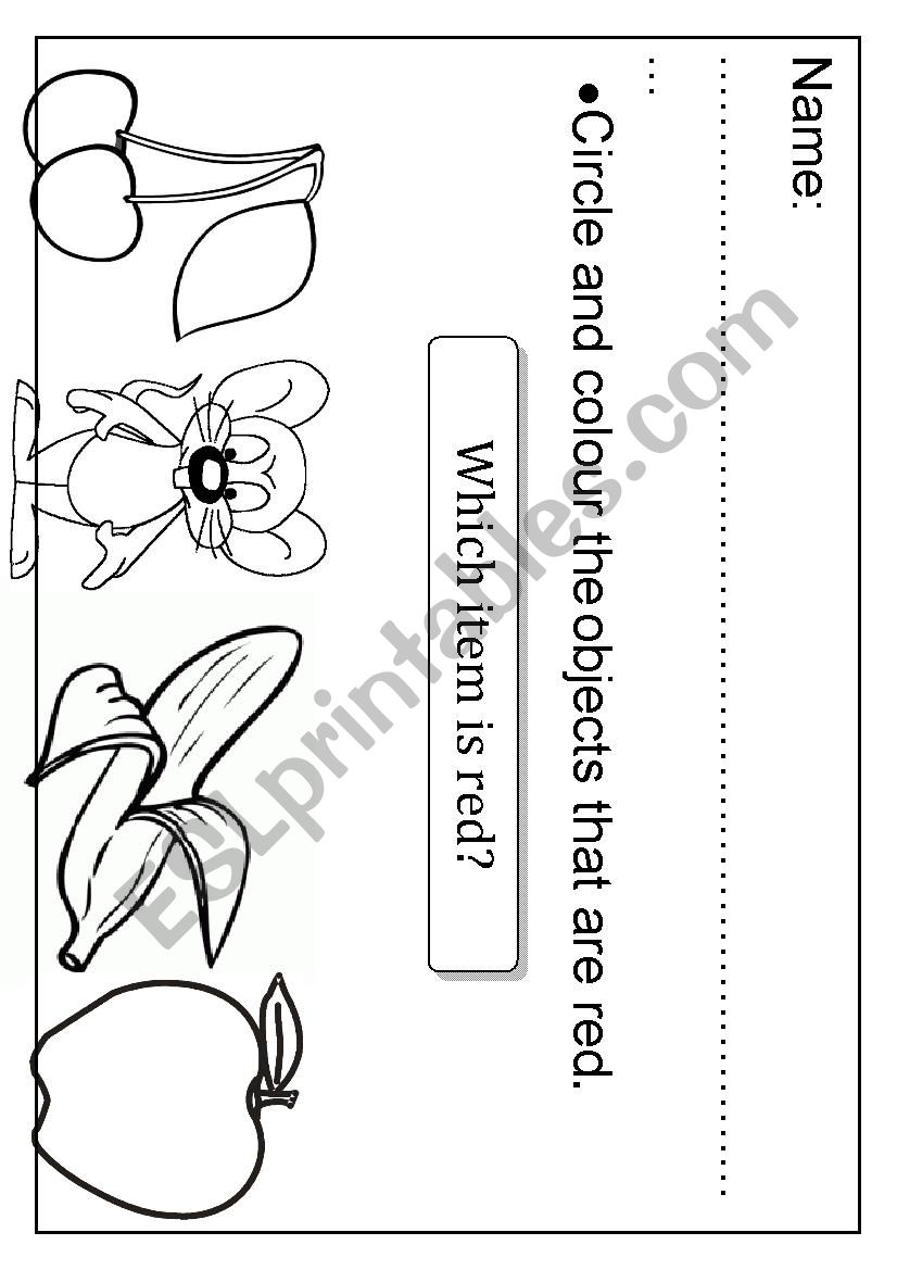 RED colour  Circle and colour the objects  - ESL worksheet