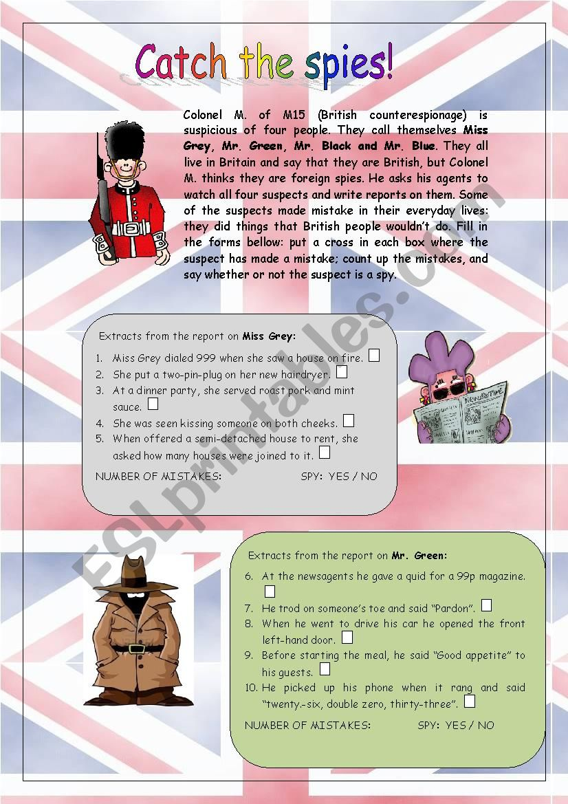 CATCH THE SPIES! worksheet