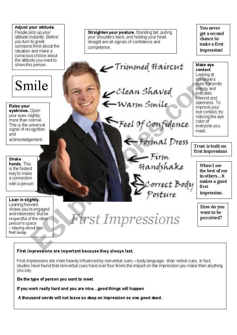 First impression worksheet
