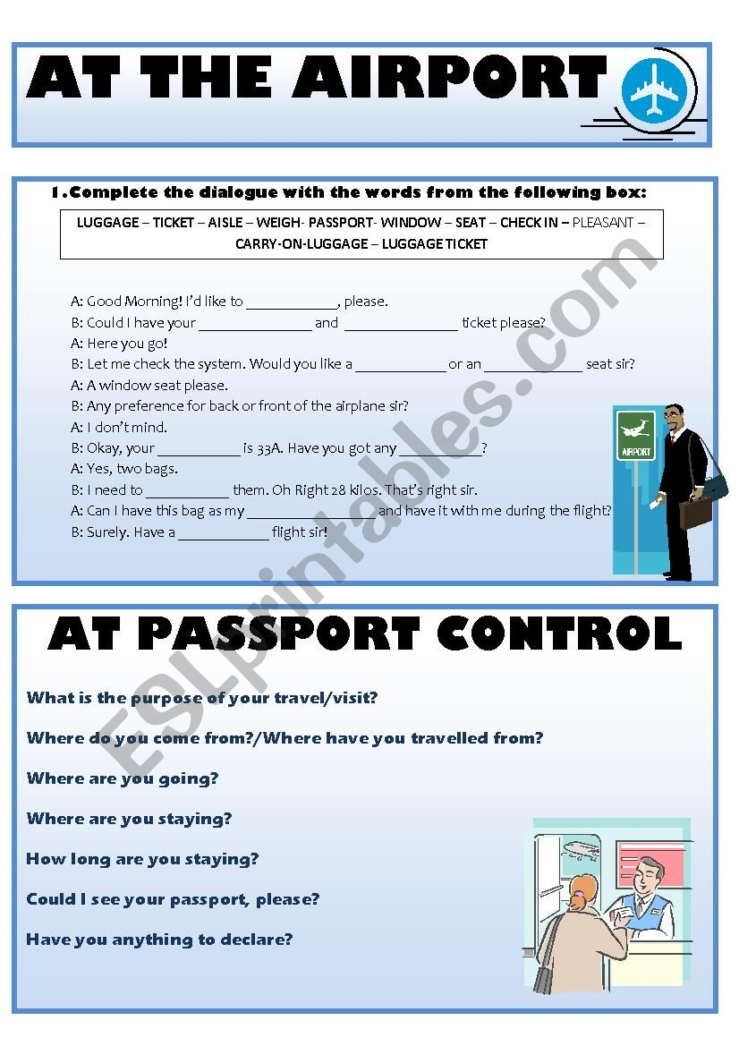 Vocabulary for Airport Situations