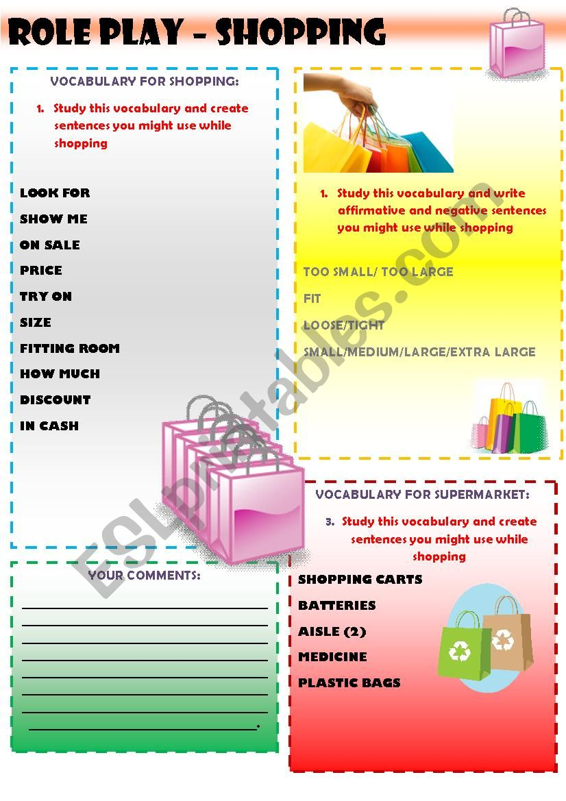 Role Play - Shopping! worksheet