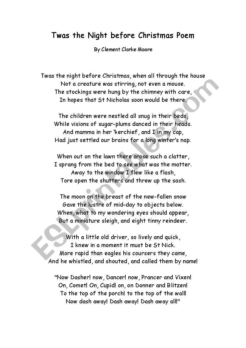 Twas night before Christmas poem