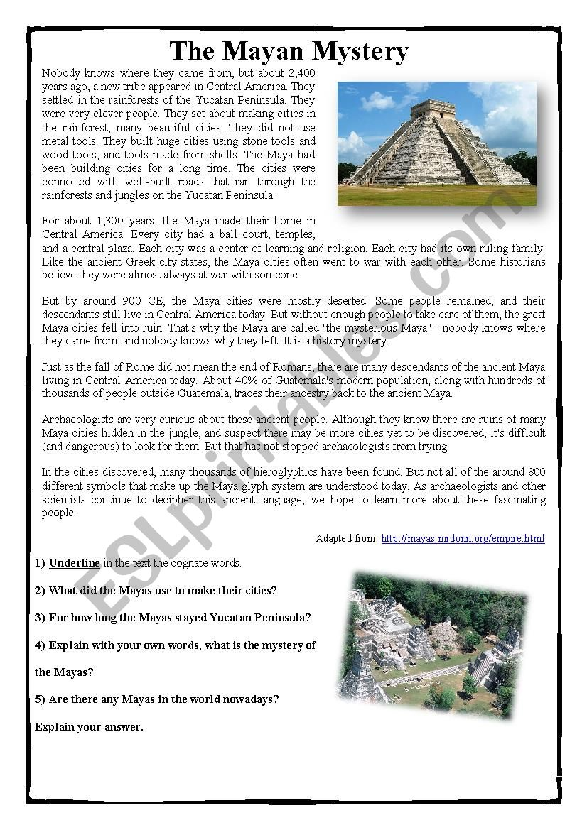 The Mayan Mystery - Reading worksheet