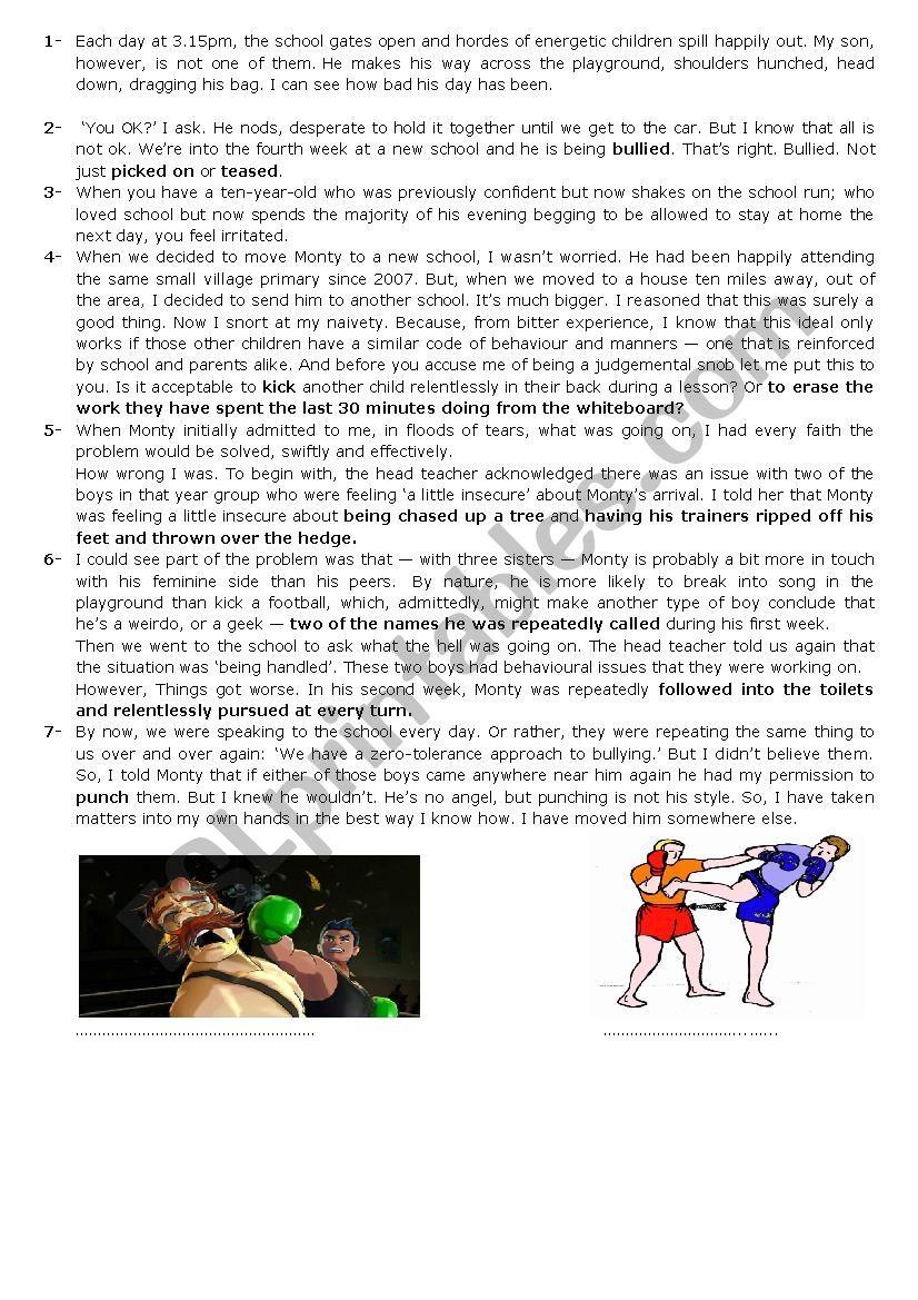 Violence/ lesson 9/ 2nd form worksheet