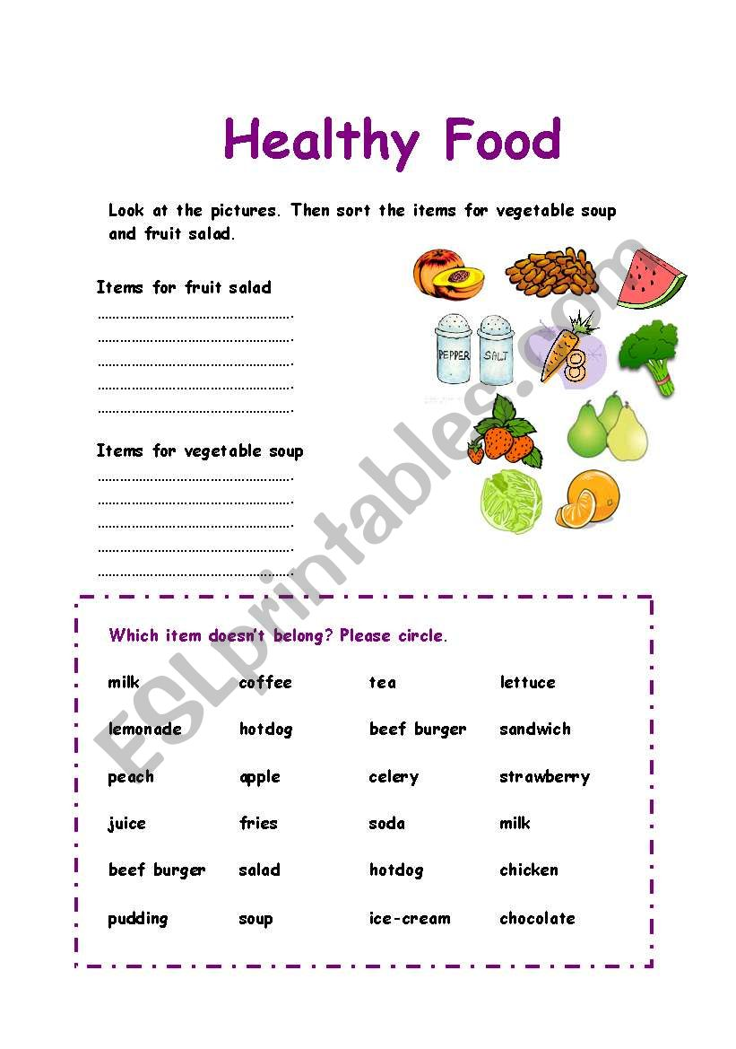 worksheet Healthy Food Sorting Worksheet healthy food sorting exercise worksheet