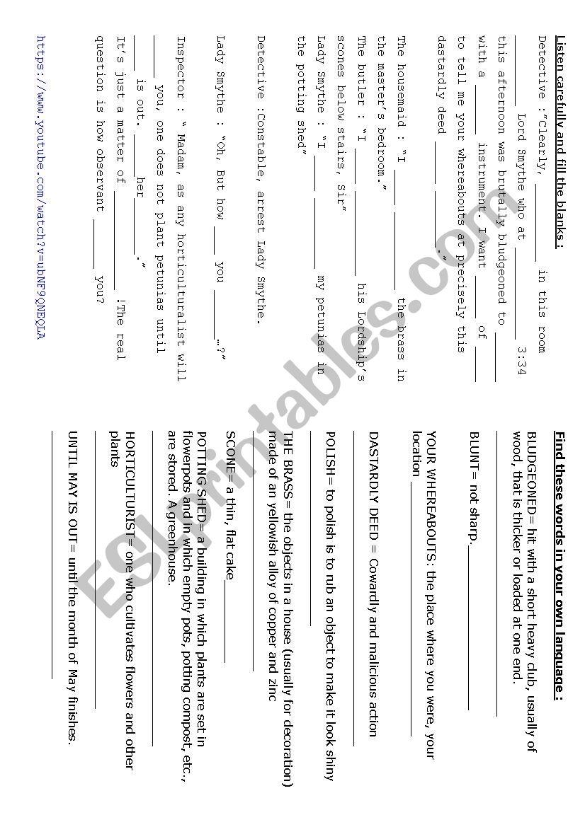 Small Whodunnit 1 worksheet