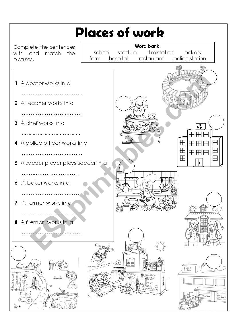 Places of work worksheet