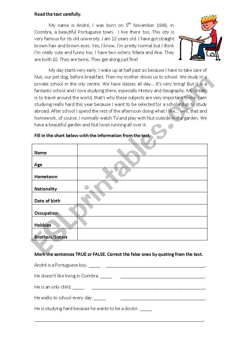 Daily Routine test worksheet