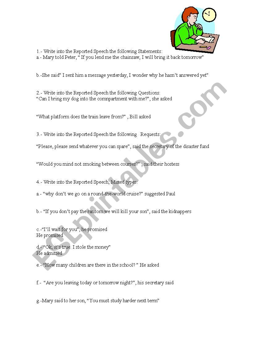Reported speech - mixed types worksheet