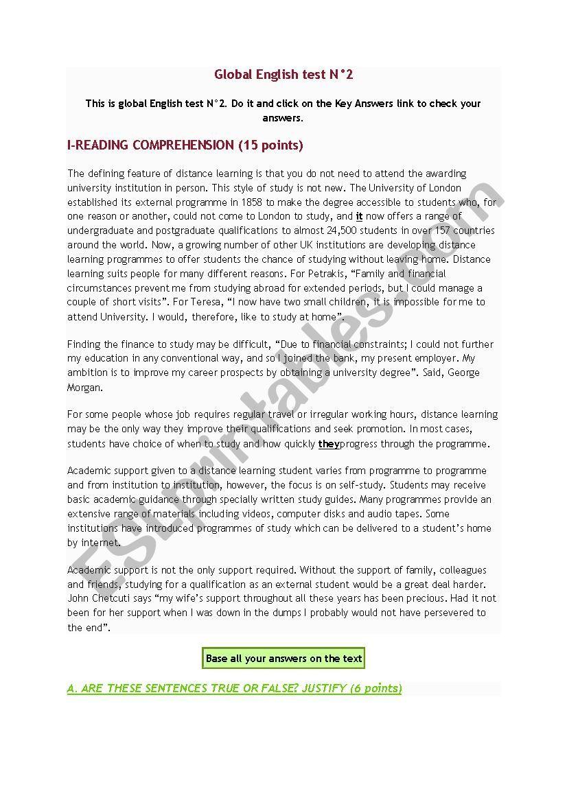 global test - ESL worksheet by alexio744