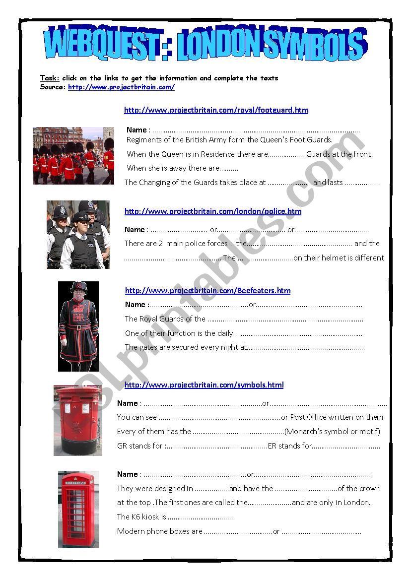 Webquest London Symbols worksheet