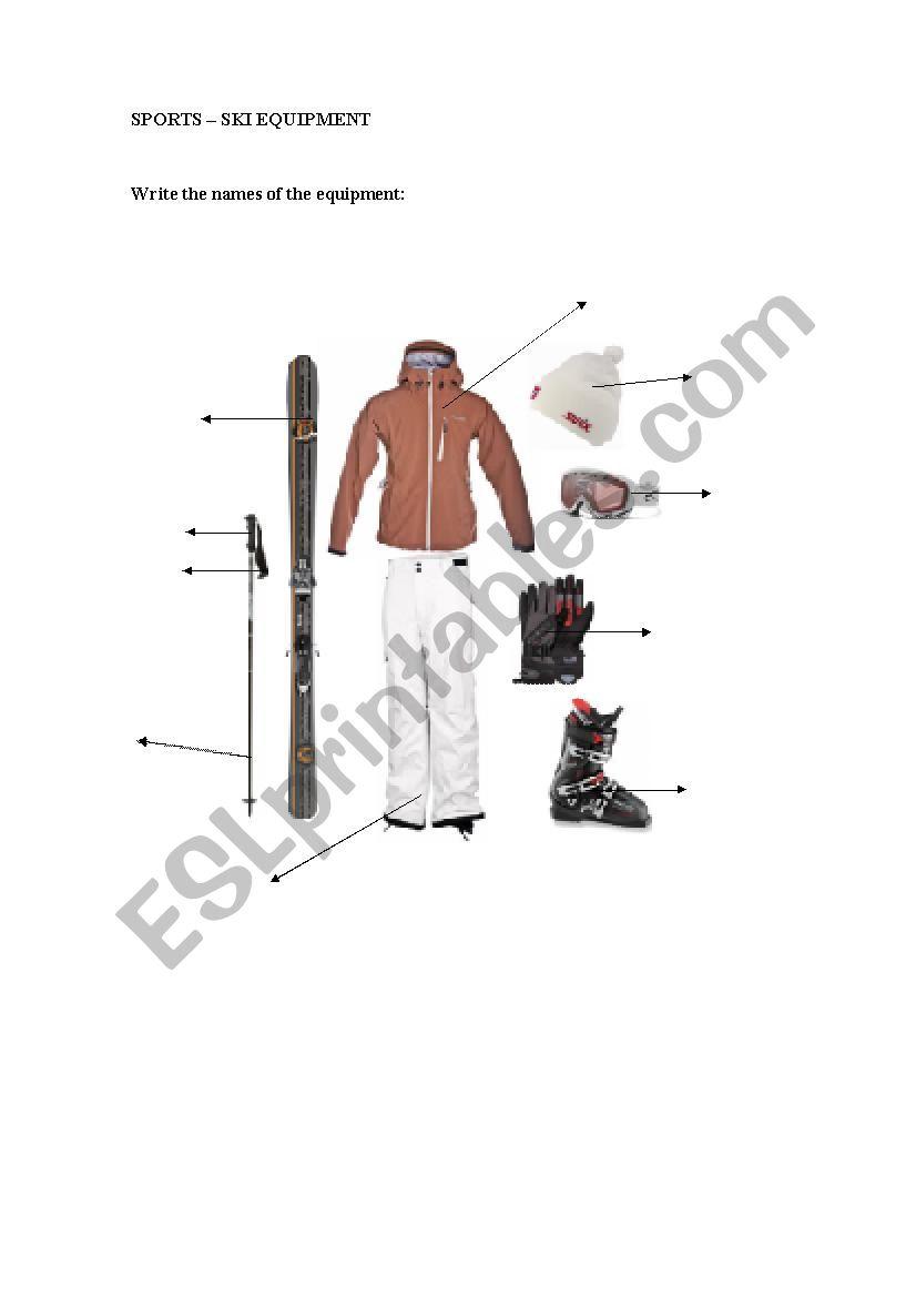 Sports vocabulary - Ski equipment