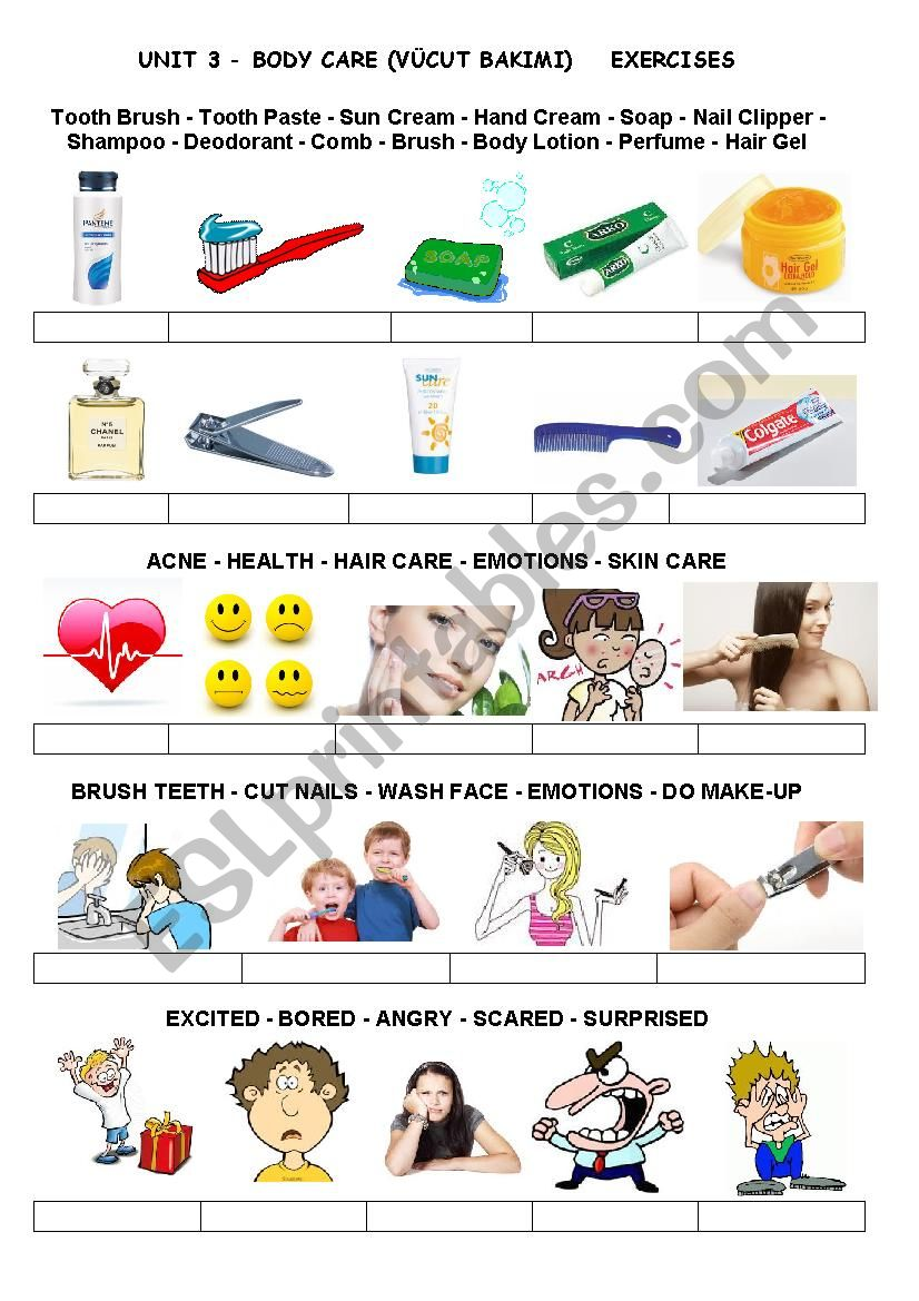 Body Care Products Esl Worksheet By Byprofesor