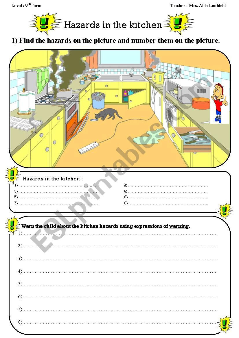 School Hazards Esl Worksheet By Ayda Louhichi