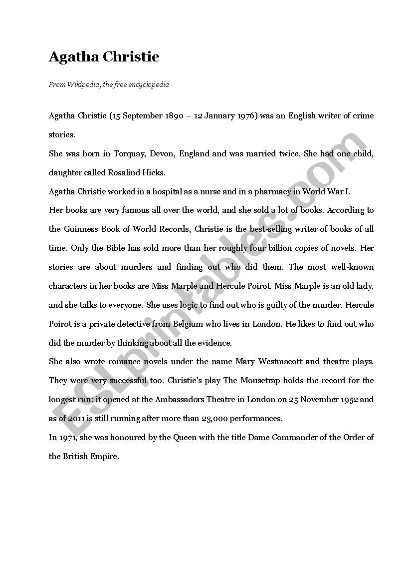 Biography: Agatha Christie worksheet