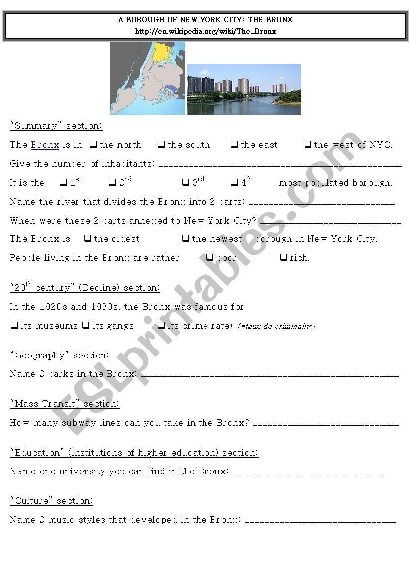 Webquest NYC - Bronx worksheet