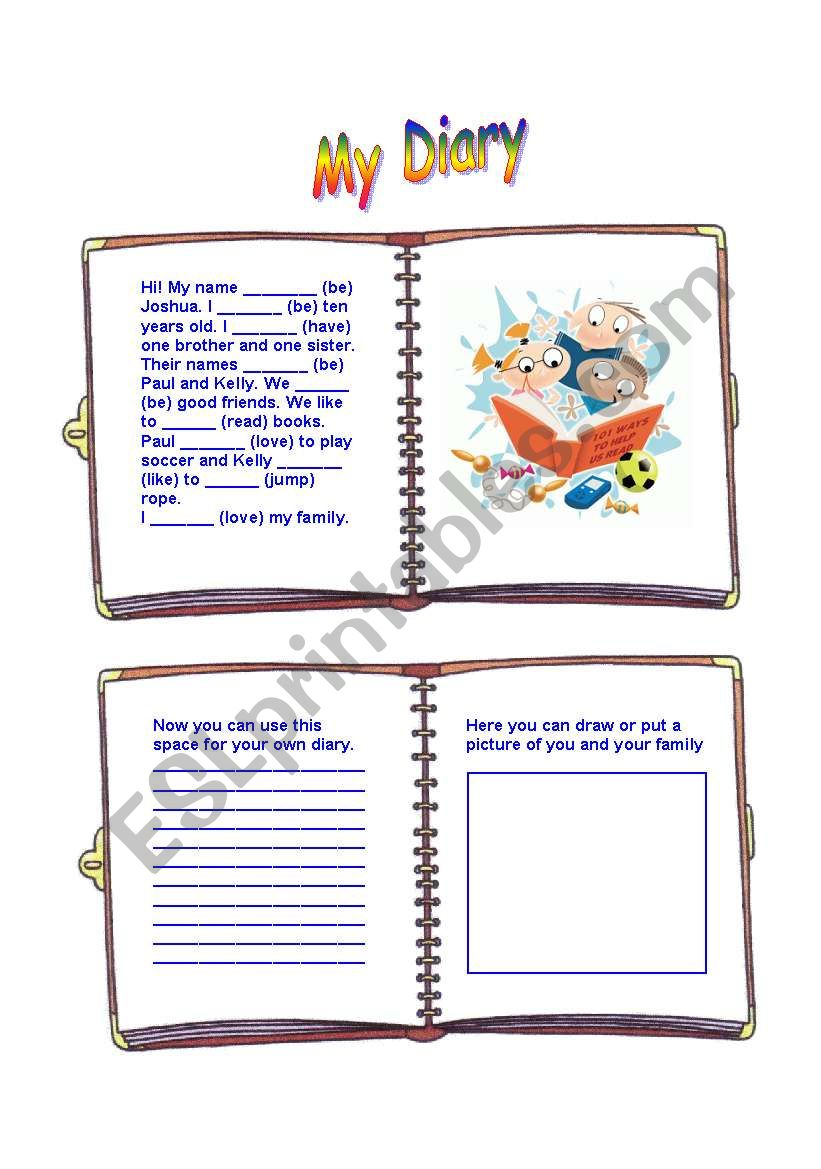 Boy´s diary worksheet