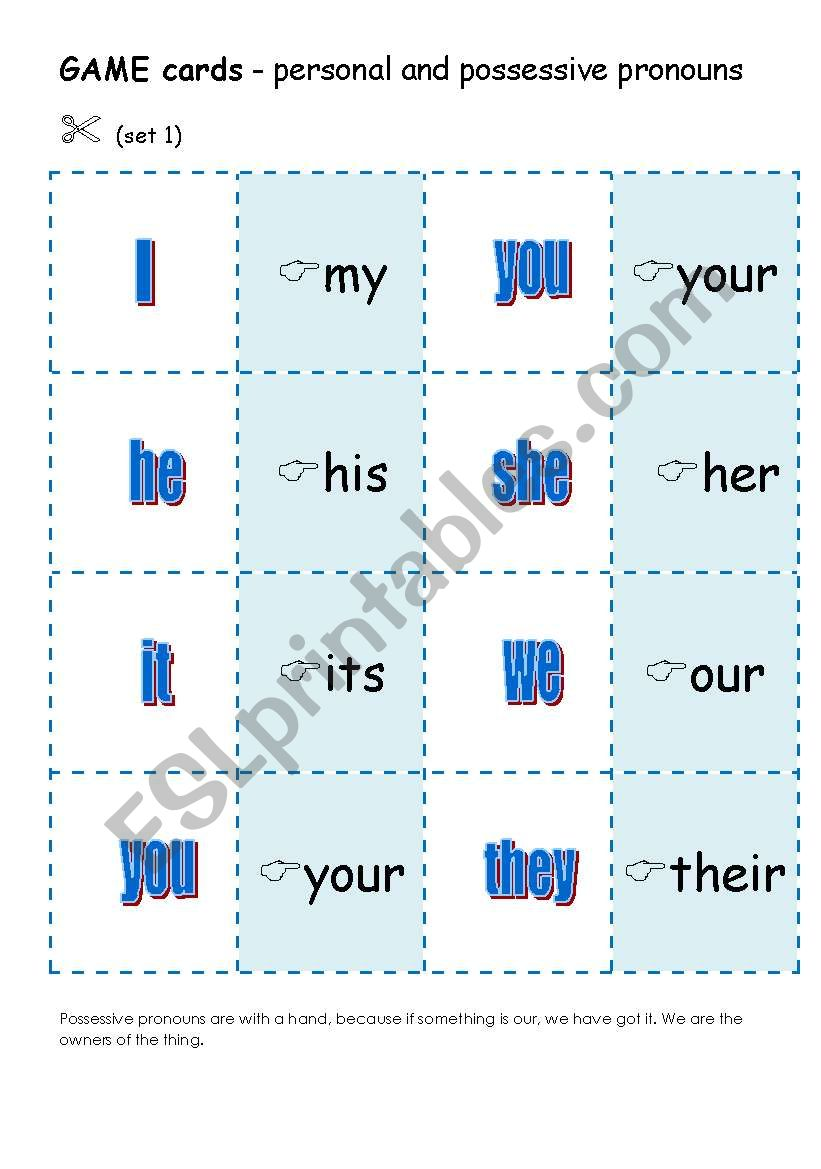 PERSONAL AND POSSESSIVE PRONOUNS - 9 games for teaching this grammar (5 pages)