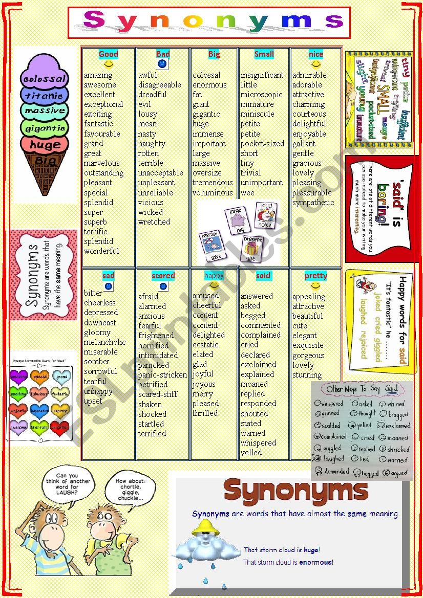 SYNONYMS  + TASKS worksheet