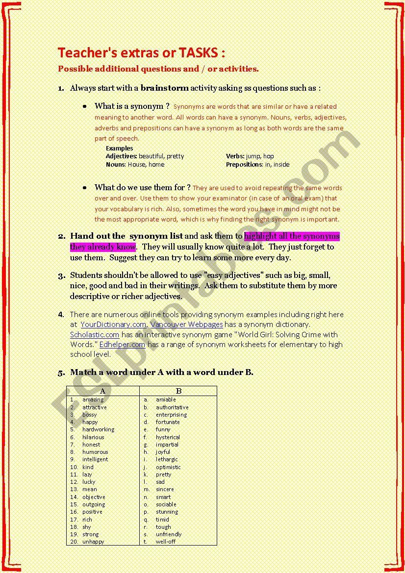 SYNONYMS + TASKS - ESL worksheet by karagozian