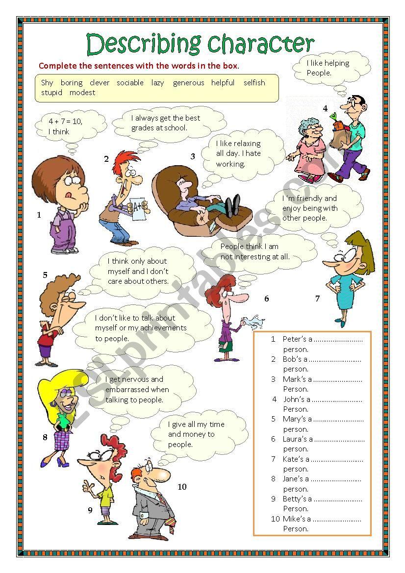 Describing character 1 worksheet