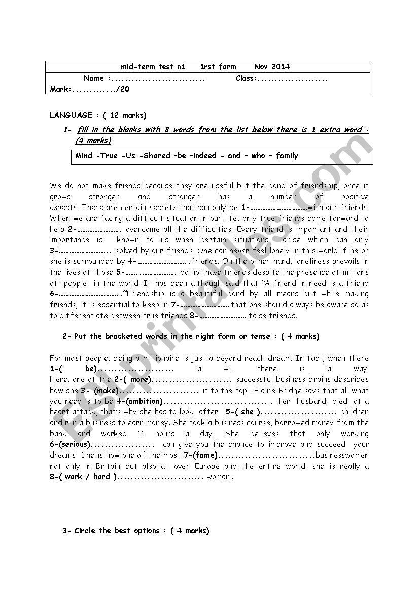 mid-term test n1 1rst form worksheet