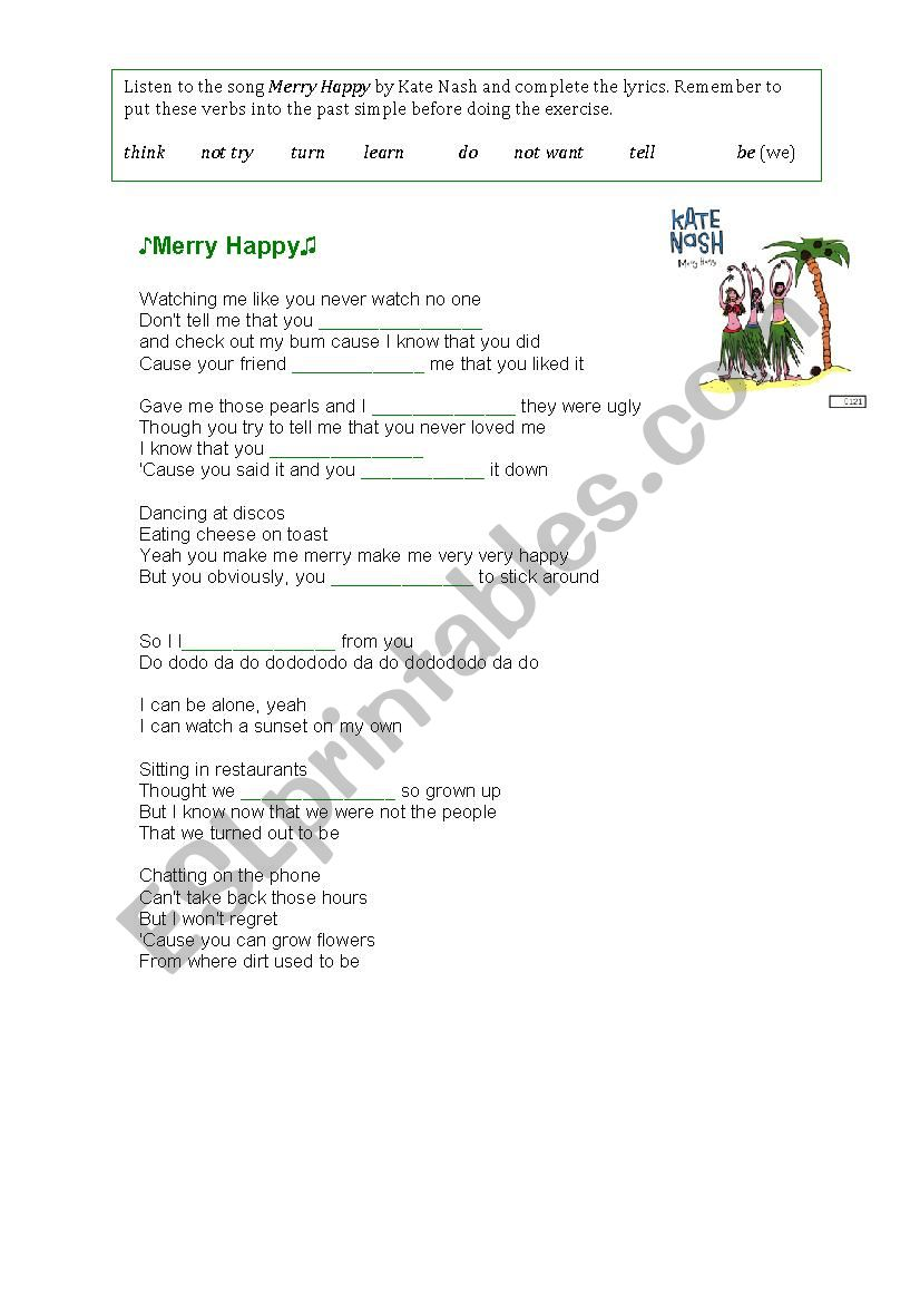 Learning the past simple with songs (Merry Happy)